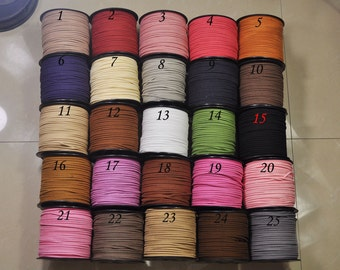2.5mm Flat Faux Suede Leather Cord,DIY Leather String Cord Supplies,Faux Suede Lace,DIY necklace/bracelet Leather cord(50 colors)