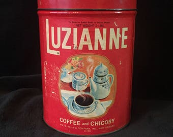 Luzianne Coffee and Chicory Tin, Very RARE, 1962, 2 pound Canister