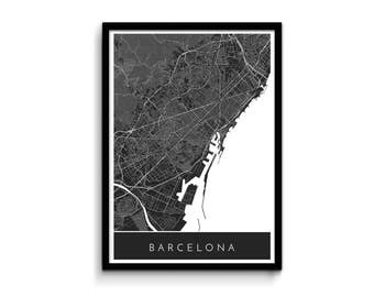 Barcelona map - Modern, detailed and original - Professional printing and fast FREE shipping