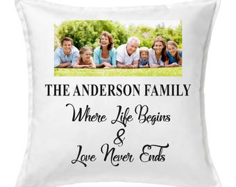 Personalised Life Begins Cushion