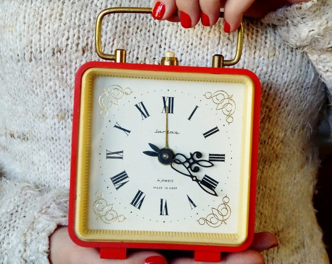 Vintage, table, mechanical watch Amber- retro alarm clock USSR- Vintage Soviet Union 1970- gift for others Christmas gift