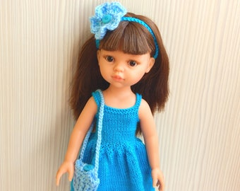 Clothes dolls 32-33 cm height, turquoise clothing,  dress, knitted headband, shoes, bag. Paola Reina doll Blue dress  doll 13 inch doll