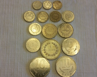 15 costa rica vintage coins 1958 - 1992  / centimos colones coin lot - world foreign collector money numismatic a13