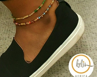 African Anklet/ Beaded Anklet / Colored Anklets/Slim