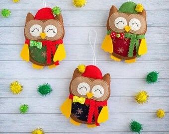 Christmas tree ornaments Cute gifts Owl decor Christmas owls Coworker gift for Christmas Wall decor Xmas gift idea Christmas decoration felt