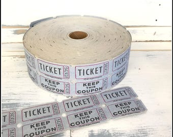 Blue Raffle Tickets  - (30) Vintage Tickets - Blue Double Raffle Carnival Party Tickets