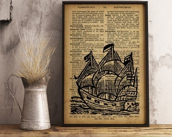 Ship Illustration, Ship Dictionary Art Print, Ship print(K01)