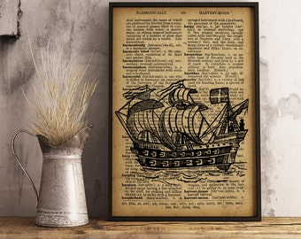 Old Ship Illustration, Ship Dictionary Art Print, Nautical print Vintage Ship art, Ship drawing Office Decor, Ship Canvas Print (K06)
