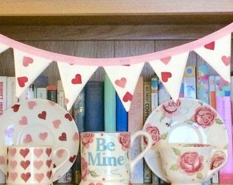 Emma Bridgewater bunting, Emma Bridegwater pink hearts, Emma Bridgewater mini bunting, pink mini bunting, shelf bunting, mini banner