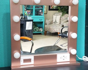 ROSE GOLD  24 x 24 Lighted Hollywood style Glamour vanity mirror