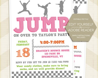 JUMP Party Birthday Invitation, trampoline, Bounce party Invite 5x7 - digital printable editable PDF Edit yourself in Adobe Reader girl