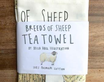 Breeds of Sheep Tea Towel