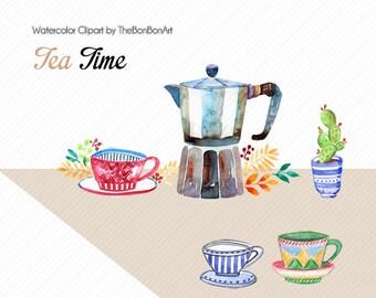watercolor clipart. teatime clipart. coffee clipart. spring clipart. wedding graphics. watercolor logo. Tea party clipart. Tea clipart.