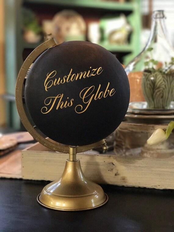 Custom Calligraphy Globe / Black Chalkpainted Globe / Gold Calligraphy Globe / You Choose Custom Wording