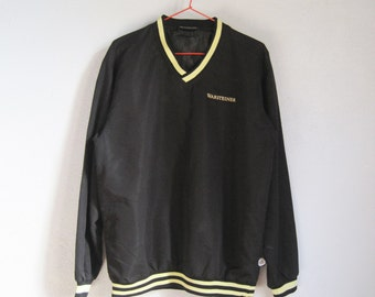 VINTAGE Warsteiner German Beer Black Yellow Stripes No Zipper Jacket - Size M