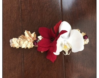 Holiday flower headband, red and gold, christmas headband, photo prop, gifts for her, gifts for kids