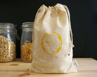 Bag bulk (average) Zero waste in organic cotton muslin - lemon motif