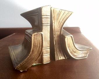 Rare Vintage Brass Bronze Limp Book Bookends by Ronson circa 1933
