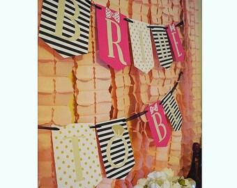 Black/stripes Banner/ Future Mrs Banner/ Bride to Be Banner/ Glitter Banner/ Pink and Gold Banner/ Bridal Shower Banner/ Ms to Mrs Banner