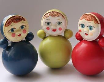 Set of 3 Soviet roly-poly toys. Nevalyashka. Vintage Celluloid. Tilting doll USSR. tilting doll. Soviet toy