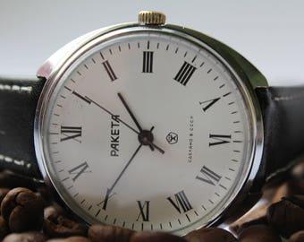 Soviet watch, mens watch, Raketa vintage watch USSR, working mechanical watch.