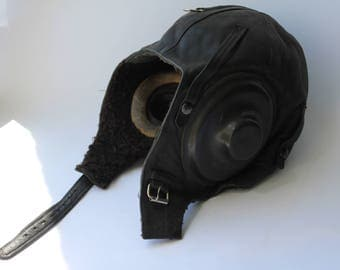 Soviet winter aviator helmet 1957, Vintage military helmet, Vintage motorcycle helmet, Pilot, leather aviation helmet. Flying helmet, Hat.