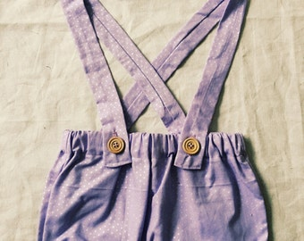 SMALL girls suspender shorts with matching bow
