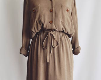Brown striped shirt dress.