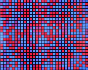 """François Morellet - """"Composition Composition bleu et rouge"""" - Hand signed Screenprint on PVC, 1970"""