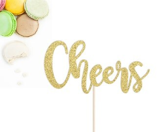 Cheers Glitter Cake Topper | Birthday Cake Topper | Bachelorette Cake Topper | Retirement Party | Wedding or Engagement Cake Topper
