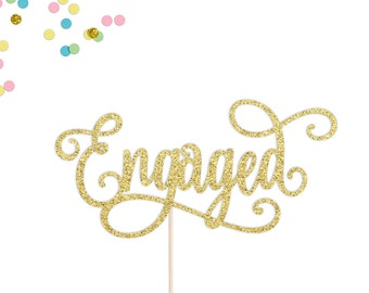 Engaged Cake Topper | Engagement Cake Topper | We're Engaged | Engagement Party | Bridal Shower Cake Topper | Engagement Decorations