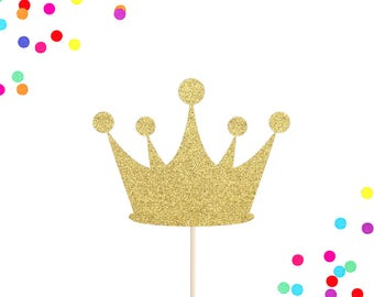 Crown Cake Topper | Prince Cake Topper | Princess Cake Topper | Tiara | Princess Birthday Party Decor | Glitter Gold Crown Cake Topper