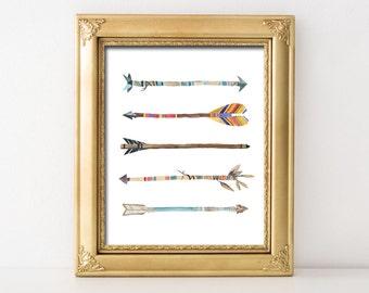 Watercolor Arrows Nursery Printable Wall Art Tribal Nursery Decor Boy Nursery Print Tribal Arrows Nursery Print Red Blue Arrows Boys Bedroom