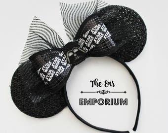 Star Wars Inspired Darth Vader Mickey Mouse Ears Headband ~ Black and Silver Star Wars Ribbon Darth Vader