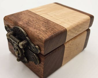 Small Wooden Flame Maple / Walnut Ring Box / Keepsake Box