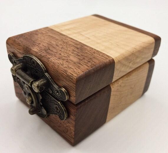 Small Wooden Flame Maple / Walnut Ring Box / Keepsake Box