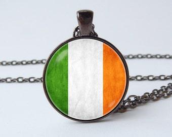 Ireland flag necklace Irish jewelry Irish flag pendant Flags jewelry Celtic gift Flag of Ireland St. Patrick's Day Patriotic necklace Travel