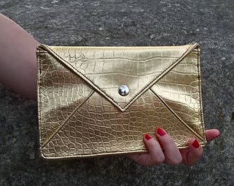 Golden Pohette gold evening bag, pouch, silver wedding clutch Rococo silver cocktail, flat Pocket pouch, envelope
