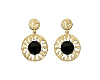 Celtic Sun Dangle - Gold Earrings -18K Gold Plated  - Statement Earrings - Edgy Earrings - Exquisite Earrings - Modern Earrings