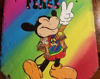 Peace Mickey Mouse, Hippie Mickey, Hand painted Slate
