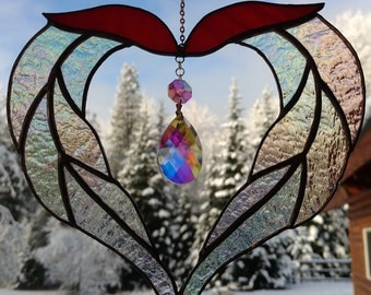 Stained Glass Sun catcher, Heart with Crystal.  Handmade, Copper foil