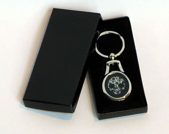 Chrome effect Pullip Doll Skull Keyring, featuring the #DeadPullipSociety Lace Skull design, in presentation gift box.