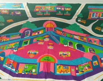 Shopping Mall Roadway Play Mat with Wooden Cars (Vintage Print)