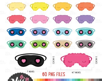 30 Color Sleeping Mask Clipart (60png)- Instant Download