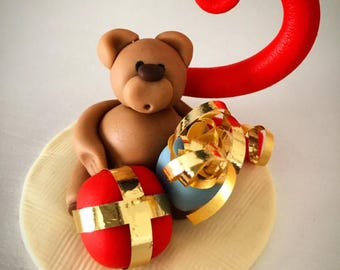 Teddy bear birthday decorations cake topper handmade keepsake