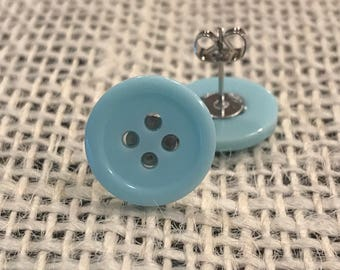 Light blue button earrings!