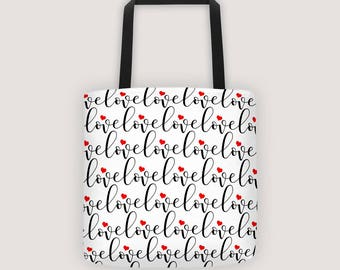 Love Pattern Tote   Tote Gifts   Mail Tote   College Tote   Teacher Tote   Work Tote