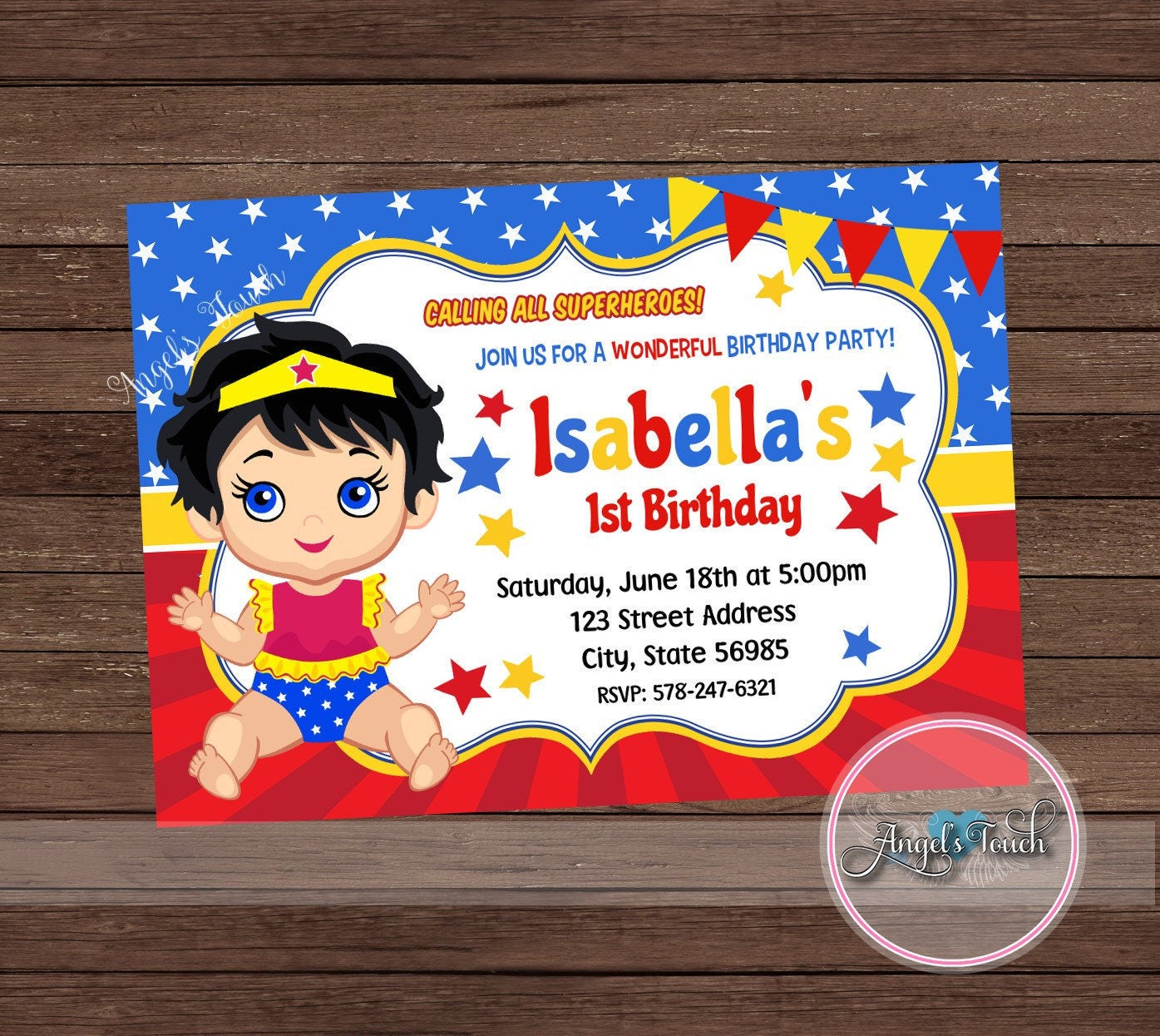 Wonder Woman Party Invitation Wonder Woman Baby Invitation