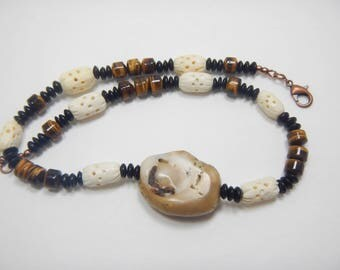 Bamboo Coral and Tiger Eye Unisex Necklace, White Black Brown Necklace, Bone Horn and Natural Gemstone Necklace, Jewelry for Men / for Women
