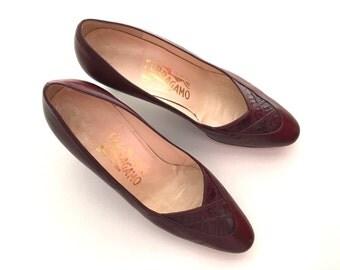 Chic Vintage Ferragamo Pumps, Classic Shoes 6.5B. Designer Burgundy Pumps, Stylish Crimson Pumps, Dark Wine Shoes, Exclusive Shoes For You